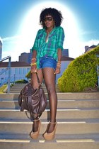 nude Giuseppe Zanotti wedges - turquoise blue plaid shirt - blue DIY shorts