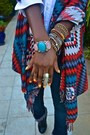 Blue-true-religion-jeans-red-aztec-print-jacket-white-jcrew-shirt