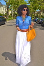 Blue-denim-paul-joe-shirt-white-maxi-eyelet-skirt