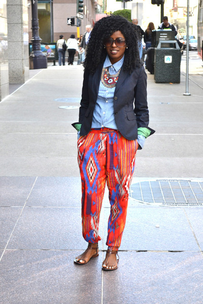 navy Jcrew blazer - blue denim Ralph Lauren shirt - red tribal harem Zara pants