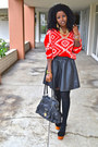 Red-romwe-sweater-black-leather-skirt