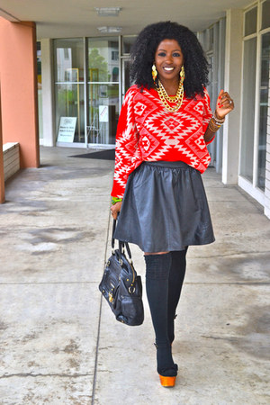 black leather skirt - red romwe sweater