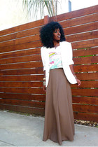 white H&M blazer - brown f21 skirt