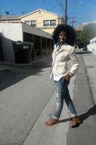 beige Linen Blazer blazer - white calvin klein shirt - blue Seven 7 Jeans jeans