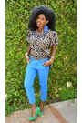 Blue-zara-jeans-bronze-kemkemstudio-blouse-aquamarine-electric-green-heels