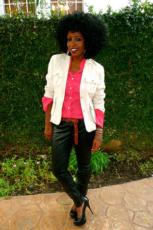 tan linen blazer - hot pink Silk shirt - black F21 Leather pants