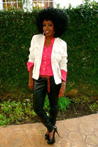 tan linen blazer - hot pink Silk shirt - black F21 Leather pants