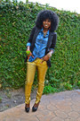 Gold-gold-biker-pants-black-boyfriend-blazer-blue-denim-shirt