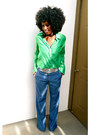 Chartreuse-jcrew-shirt-blue-vintage-pants