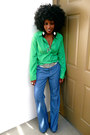 Chartreuse-jcrew-shirt-blue-vintage-pants