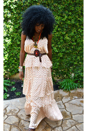 cream ruffle dress - dark brown thailand sandals