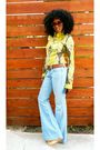 Green-h-m-shirt-brown-vintage-belt-blue-free-people-jeans