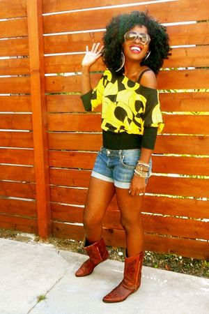 yellow Mango blouse - blue Paper Denim & Cloth shorts - brown Swap Meet boots