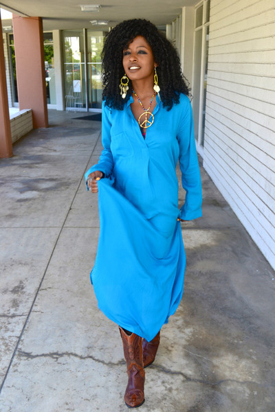 brown vintage boots - blue Silk dress