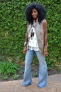 Blue-bell-bottom-jeans-ivory-layered-ruffle-blouse-tan-diy-trench-vest