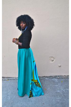 green Jcrew sweater - turquoise blue H&M dress