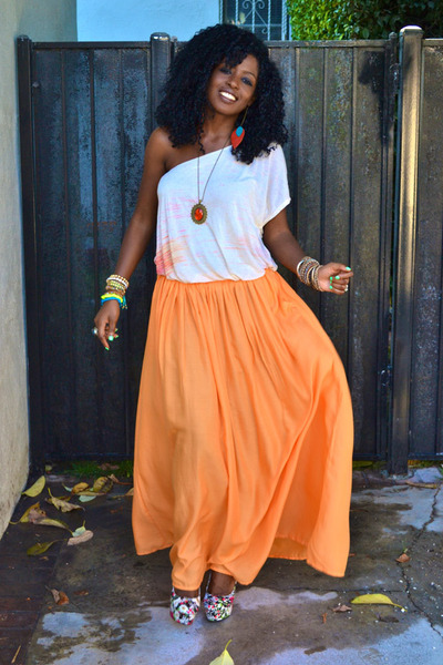 beige free people Grecian blouse - carrot orange zara maxi skirt