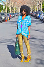 Green-ysl-bag-gold-jcrew-pumps-gold-zara-pants-sky-blue-aztec-print-top
