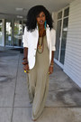 Dark-khaki-sheer-maxi-dress-white-mens-blazer-bronze-leopard-print-pumps