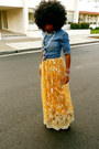 Blue-denim-shirt-gold-style-pantry-dress