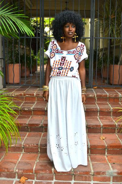 white Aztec blouse - maroon Aztec blouse - white maxi skirt
