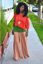 red H&M Crop blouse - forest green Silk t-shirt - nude diy H&M Flared pants