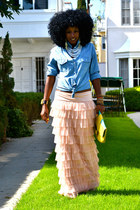 aquamarine denim shirt - peach Tutu maxi skirt
