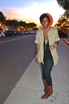 brown vintage boots - black Urban Outfitters jeans - red free people hat