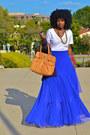 White-american-apparel-t-shirt-tawny-marc-jacobs-bag-blue-asos-skirt