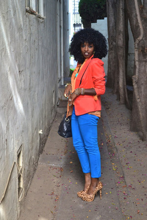 carrot orange Tuxedo blazer - blue Zara jeans - light orange Zara shirt