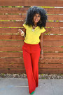Yellow-romwe-shirt-red-mango-pants-chartreuse-zara-heels