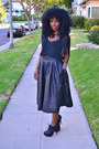 Black-chiffon-american-apparel-blouse-black-leather-h-m-skirt