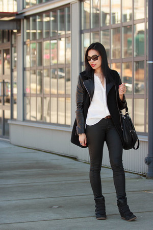 black leather sleeve Wilfred Free coat - black coated H&M jeans