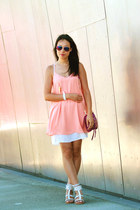 peach HRH Collection dress - magenta cross body danier bag