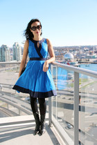 blue eShakti dress - black BCBGirls boots - black Chanel bag