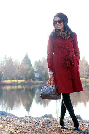 ruby red trench eShakti coat - dark brown speedy Louis Vuitton bag
