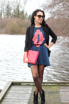 coral foldover clutch H&M bag - navy neon filigree Sugarlips dress