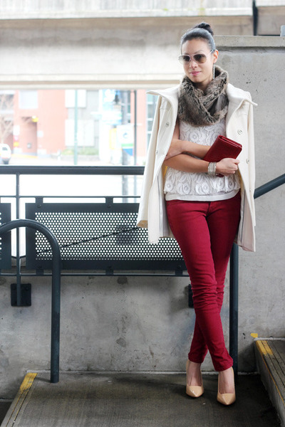 lace peplum Zara top - wool Mackage coat - skinny Current Elliott jeans