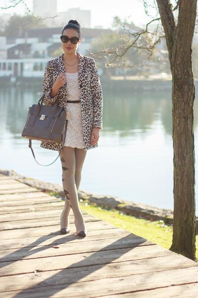 charcoal gray leather danier bag - ivory lace Talula dress