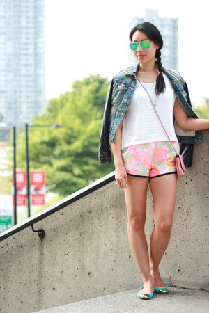 Talula jacket - woc Chanel bag - neon jacquard wilfred shorts