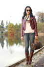 Brown-leather-kensie-boots-charcoal-gray-skinny-old-navy-jeans