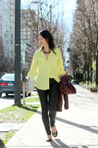 black wax coated H&M jeans - maroon H&M jacket - light yellow Old Navy blouse