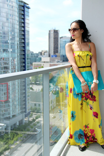 Yellow and blue maxi dress