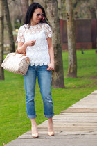 white lace Zara top - blue Gap jeans - off white speedy Louis Vuitton bag