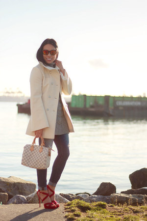 ivory wool Mackage coat - heather gray Old Navy dress - blue Gap jeans