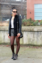 black leather sleeve H&M blazer - silver sequin Zara shorts