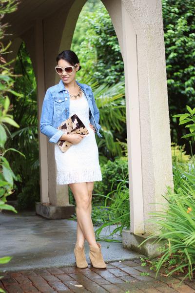 white lace Sugarlips dress - light blue denim H&M jacket