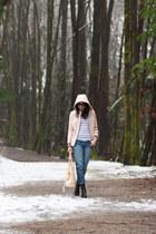 black BCBG boots - light pink hooded Zara coat - blue boyfriend Gap jeans