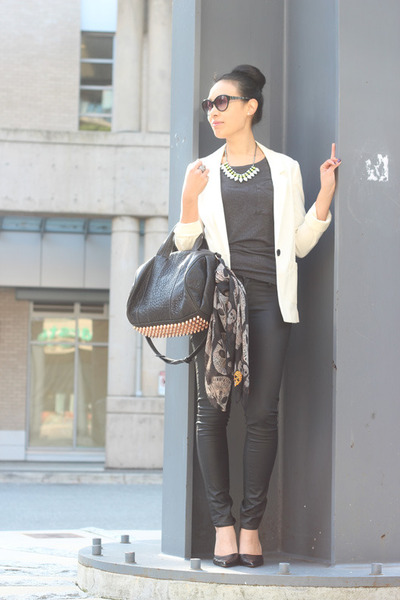 rhinestone H&M necklace - wax coated H&M jeans - H&M blazer - Zara scarf