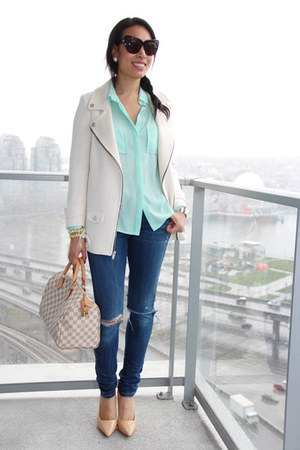 speedy Louis Vuitton bag - blue Levis jeans - white Zara jacket